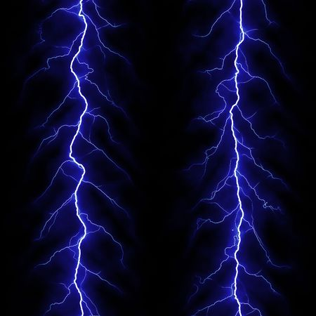 lighting effect: two blue lightning bolts over black