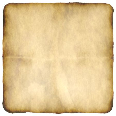 plenty: marked, distressed, burnt and old paper or parchment background, plenty of copy space for your text, isolated over white Stock Photo