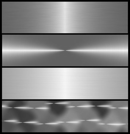 four metal brushed banners, isolated over black photo