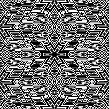 black and white retro floral pattern, tiles seamlessly, escher typical optical illusion Stock Photo - 4015016
