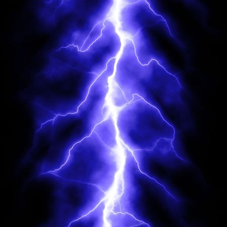 rainstorm: blue lightning bolt over black