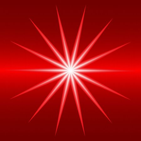 supernova: red brushed metal background with bright white star or supernova Stock Photo