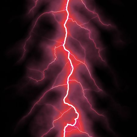 thunder storm: red lightning bolt over black