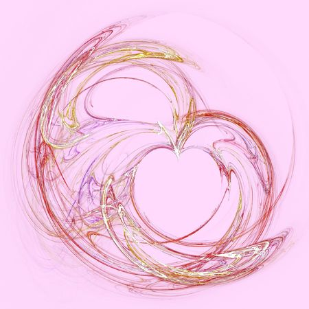 red orange fractal heart over rose colored background Stock Photo - 4345665