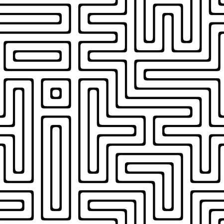 illusions: black and white maze that will tile seamless as a pattern Stock Photo