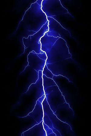 electric shock: blue lightning bolt over black sky Stock Photo