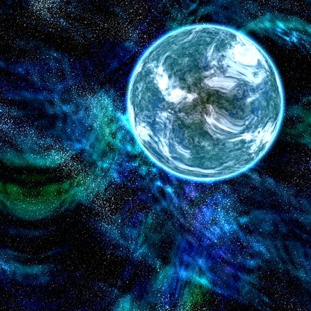 spacial: blue planet with stars and nebula