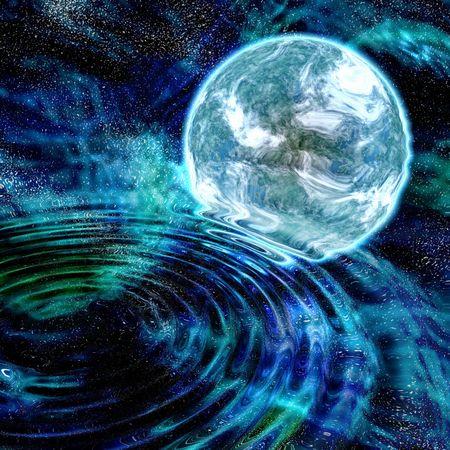planète bleue avec nébuleuse et étoiles fond avec réflexion et ondulations de l'eau