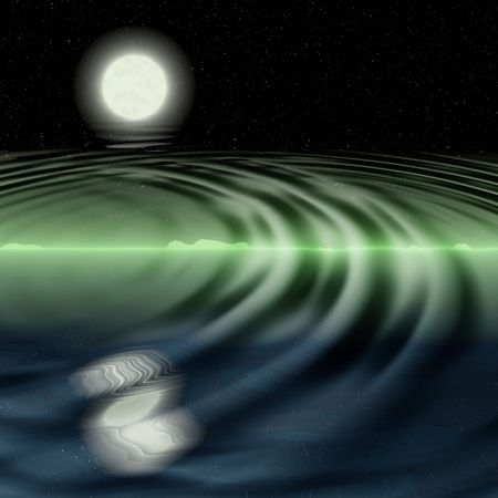 green dream night landscape with stars  reflected in rippled water photo