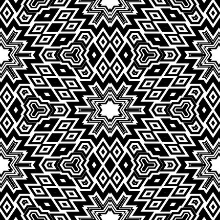 black and white retro floral pattern, tiles seamlessly, escher typical optical illusion Stock Photo - 6343459