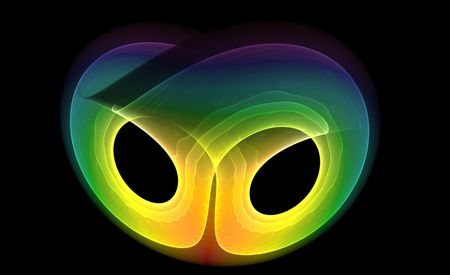 abstract rainbow mask over black background Stock Photo - 6343291