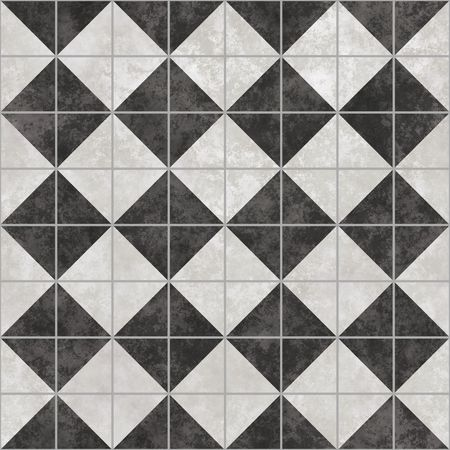 tiles floor: black and white tiles that tile seamless in all directions Stock Photo