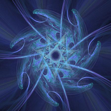 symetric: blue swirly fractal resembling a chakra over black background