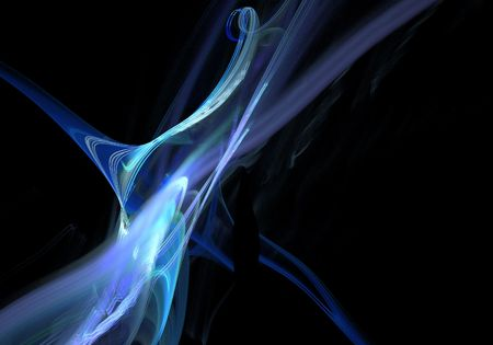 blue fractal over black background, leaving copyspace Stock Photo - 7109202