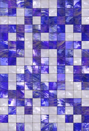 Blue white golden tiles texture background, kitchen or bathroom concept photo