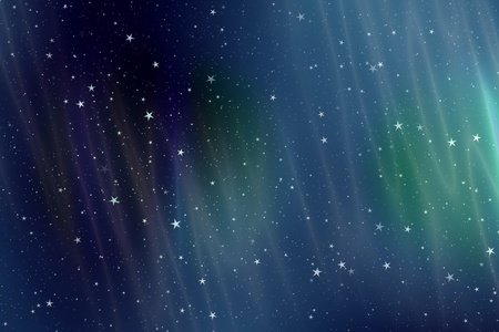 Night sky wallpaper with aurora borealis and stars. photo