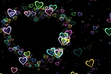 Hearts frame in pastel colors over black. photo