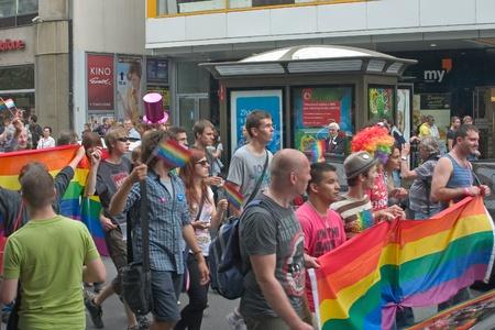 PRAGUE, CZECH REPUBLIC - AUGUST 13: Participants and spectators in the first Prague Pride Parade, a festival of tolerance, on August 13, 2011 in Prague, Czech Republic Stock Photo - 10303402
