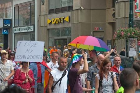 PRAGUE, CZECH REPUBLIC - AUGUST 13: Participants and spectators in the first Prague Pride Parade, a festival of tolerance, on August 13, 2011 in Prague, Czech Republic Stock Photo - 10303399