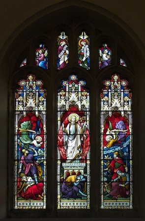 Victorian stained glass window picturing the resurrection of Christ Stock Photo - 13225873