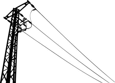 volt: Power lines black and white vector illustration