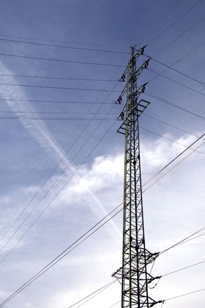 high tension: Power lines pylon