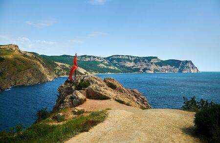 Top of mountain cliff, sea bay sea Banco de Imagens