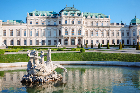 Belvedere Palace with Fountain Statue, Vienna