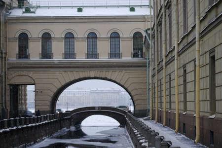 neva: Snowfall - Winter canal meeting with the Neva river Stock Photo