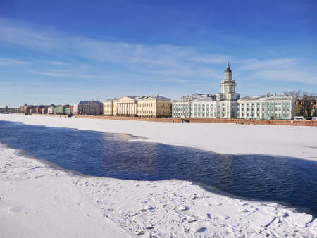 cloud drift: View of University embankment in the end dof winter  (Saint-Petersburg)
