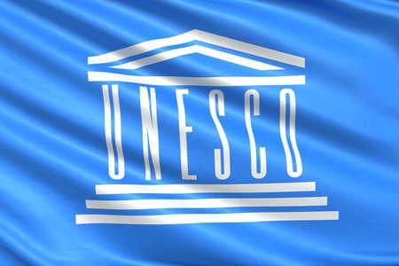 united nations: Bandera de la UNESCO de las Naciones Unidas.