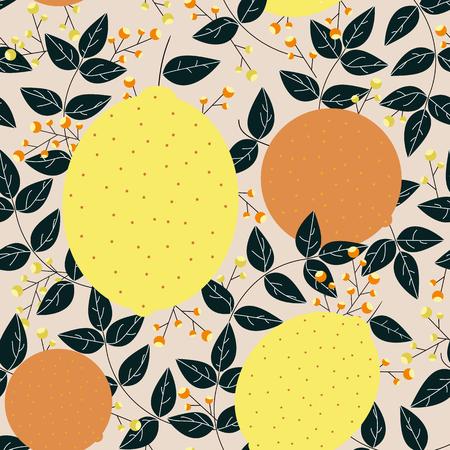 Lemons oranges leaves berries seamless pattern Vektoros illusztráció