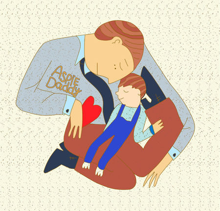 father holds a child on his shoulders. against the background of puzzles, symbols of autism. vector illustration. Illustration