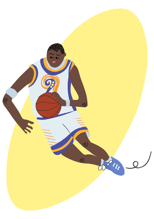 Cartoon basketball player ball possession in the motion vector