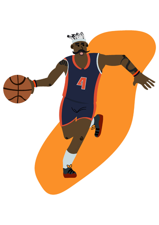 Cartoon basketball player with moustache ball possession vector