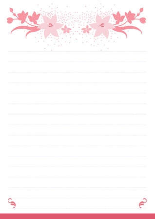 Vector printing paper note, optimal A4 size. Kawaii paper for notebook, diary, planners, letters, notes. Cute illustration with pink flowers. Abstract design, lined version Illustration