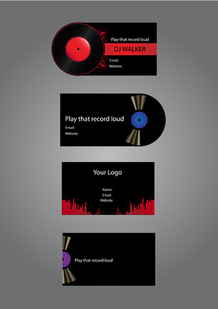 Dj Music Business cards Vector