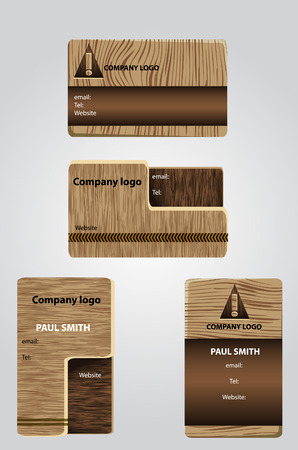 business cards background: Wooden business cards Illustration