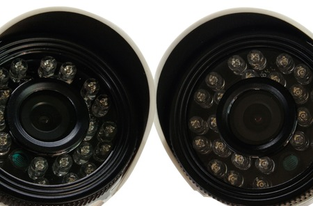 Surveillance camera on a white background. isolation . View from above Stock Photo