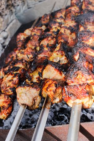 closeup of some meat skewers being grilled in a barbecue. side view