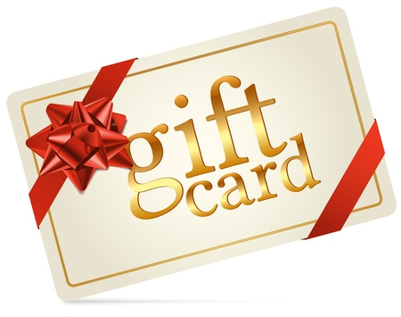 Gift Card with Red Gift Bow Illustration