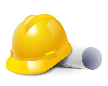 trabajando duro: Sombrero de seguridad amarillo duro y la ilustraci�n vectorial dibujos