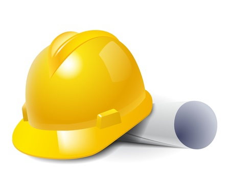 Yellow safety hard hat and drawings  Vector illustration