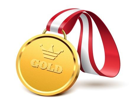 Golden medal isolated on white background, vector illustration Stock Vector - 18484678