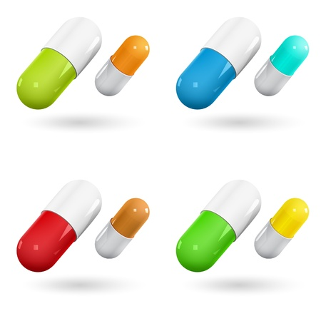 Color capsule pills on white  Vector Illustration Stock Vector - 18484680