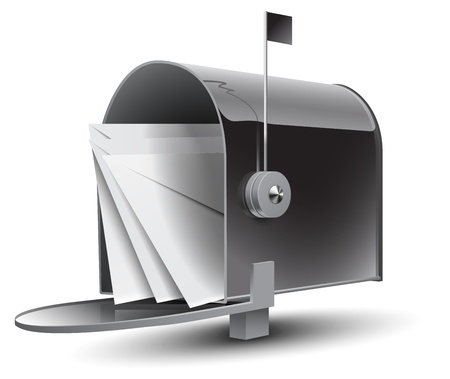 Open Grey Mailbox with Letters Vector
