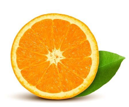 Vector fresh orange with leaf