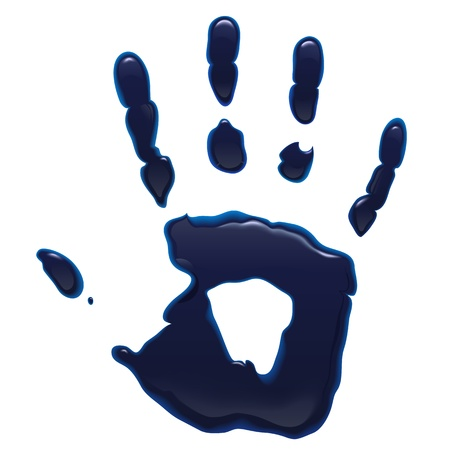 Blue ink hand print isolated on a white paper background  Vector illustration
