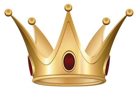 Golden Royal Crown with Ruby Illustration