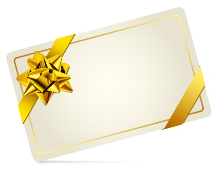 Gift Card with Gold Bow  Vector illustration